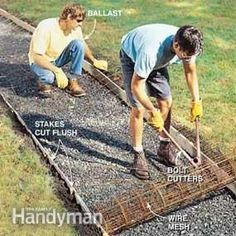 large diamond concrete paver path with smaller diamond concrete pavers Paver Path, Concrete Pathway, Concrete Pad, Concrete Bricks, Concrete Steps, Poured Concrete, Concrete Projects, Backyard Projects, Outdoor Projects