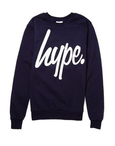 Hype. Navy Crew Neck Jumper with White Script | Shop Men's Clothing at The Idle Man