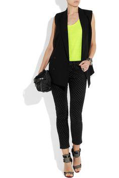 CURRENT/ELLIOTT  The Stiletto polka-dot low-rise jeans