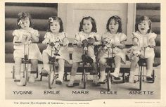The Dionne Quintuplets born May 28 1934 are the first quintuplets known to survive their infancy. They were born near Callander Ontario.     The Dionne girls were born 2 months premature then were made wards of the King for 9 yrs under the Dionne Quintuplets Guardianship Act 1935.      The quintuplet sisters:      Yvonne Édouilda Marie Dionne,   Annette Lillianne Marie Dionne (Allard),     Cécile Marie Émilda Dionne (Langlois),     Émilie Marie Jeanne Dionne,    Marie Reine Alma Dionne…