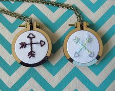 Embroidery hoop necklace art