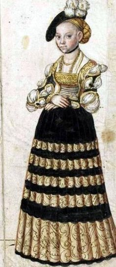 Moda niemiecka - 16th Century Trying to figure out her sleeves, they look kinda odd but cool.