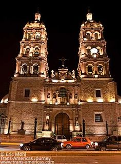 Durango's Cathedral Basilica Menor by night. Cancun, Tulum, Durango Mexico, Cathedral Basilica, West Town, Mexico Travel, Capital City, Mexico City, Temples