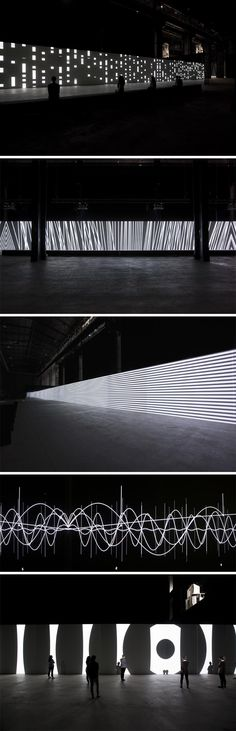 Click to enlarge German artist Carsten Nicolai has inaugurated his audiovisual installation titled Unidisplay at HangarBicocca in Milan. The 40-meter long piece has the ability to make sound percep…