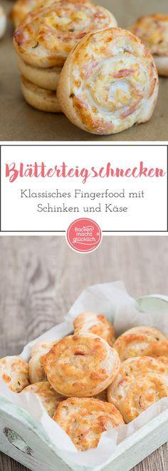 Einfaches, schnelles Rezept für pikante Blätterteigschnecken. Die Blätterteigschnecken ergeben ein perfektes Fingerfood  Schmecken vegetarisch als auch mit Schinken oder Salami.