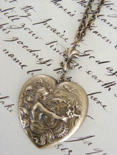 MERMAID Pendant and Seahorse HEART Vintage by chloesvintagejewelry, $28.00