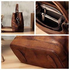 Handmade Leather Messenger Bag Handbag Shoulder Bag Small Satchel WF01