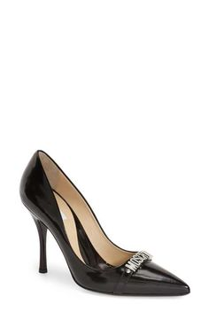 Moschino Pointy Toe Logo Pump (Women)