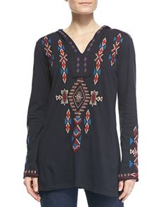 Elaine Embroidered Relaxed Hoodie  by JWLA for Johnny Was at Neiman Marcus.