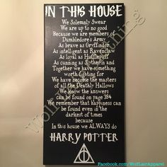 In This House We Do Harry Potter Canvas, Hand made by Wolf Lair Clothing. order…