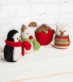 Festive Creatures By Julie Richards Animal Knitting Patterns, Christmas Knitting Patterns, Crochet Patterns, Knitted Christmas Decorations, Crochet Christmas Ornaments, Love Knitting, Knitting For Charity, Knitting Projects, Crochet Projects