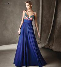 Mode Blaue Blumen Stickerei Chiffon-Eine Linie Abendkleider 2016 V mit V Zurück Lange Formale Kleid für Frauen Robe de Soiree //Price: $US $117.30 & FREE Shipping //     #cocktailkleider