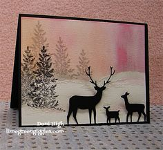 Pink Winter Sunset by donidoodle - Cards and Paper Crafts at Splitcoaststampers(SU lovely as a tree and Memory Box die) Christmas Deer, Handmade Christmas, Holiday Cards, Christmas Cards, Memory Box Cards, Memory Box Dies, Animal Cards, Winter Cards, Masculine Cards