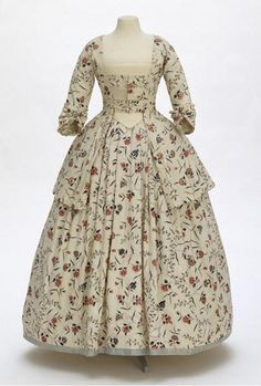 Dress made of Chintz, around 1770-1780. Fabric from SE India, dress made up in England.  Textiles, antiques