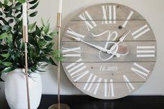Large wooden wall clock. Free shipping Grey Stain, Wood Stain, Grey Wall Clocks, Oversized Clocks, Clock Painting, Handmade Clocks, Basic Grey, Grey Wood, Grey Walls