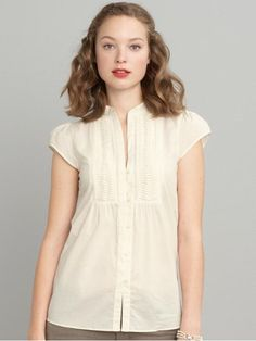Adorable cap-sleeve pin-tuck blouse from BR