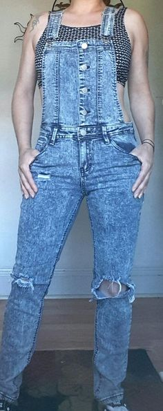 TINSELTOWN DENIM COUTURE SKINNY JEANS RIPPED DISTRESS SEXY FITTED OVERALLS S M   #TINSELTOWN #Overalls