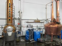 The Stills at Leopold Brothers small batch distillery look a little like musical instruments.