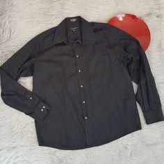 Crazy Horse Mens Shirt 16.5 36-37 Black Vertical Stripe Button Down Dress o901 #CrazyHorse