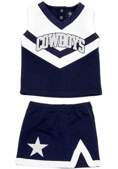 Let your future Cowboys fan show her spirit for the Dallas Cowboys in this Cowboys High-V Cheer Sets. Rally House has a great selection of new and exclusive Dallas Cowboys t-shirts, hats, gifts and apparel, in-store and online. Dallas Cowboys Cheerleader Costume, Dallas Cowboys Game, Dallas Cowboys Outfits, Dallas Cheerleaders, Cheer Outfits, Cheerleading Outfits, Varsity Cheer Uniforms, Cowgirl Halloween Costume