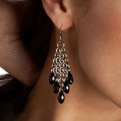 Rapt In Maille | Handmade Chainmaille Jewelry by Melissa Banks | Stainless Steel | Chicago — NOIR Diamond Teardrop Earrings