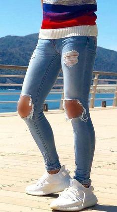 Leather and skinny jeans Superenge Jeans, Boys Jeans, Ripped Jeans, Skinny Jeans Leder, Super Skinny Jeans, Mens Tights, Fashion Moda, Men's Fashion, Pantalon Slim