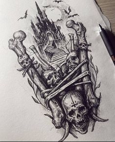 Dark Art Tattoo, Type Tattoo, Gothic Tattoo, Body Art Tattoos, Sleeve Tattoos, Tattoo Design Drawings, Skull Tattoo Design, Tattoo Sketches, Tattoo Designs