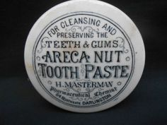 ** MASTERMAN CHEMIST DARLINGTON ARECA NUT TOOTH PASTE ** Pot Lid