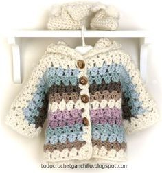 Shelter in crochet for children step by step. beautiful - Crochet Designs Free # Easy Crafts step by step Crochet Baby Blanket Beginner, Crochet Baby Cardigan, Crochet Baby Clothes, Crochet Jacket, Baby Knitting, Booties Crochet, Crochet Coat, Crochet Girls, Crochet For Kids