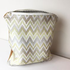 #zerowaste this Leather Chevron Clutch is made from leather cut-offs remnant fabric and the lining was created from an upholstery sample