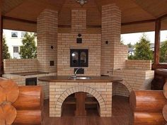 What is it about an outdoor kitchen? its so cozy/inviting. Barbacoa, Simple Outdoor Kitchen, Outdoor Kitchens, Four A Pizza, Garden Design, House Design, Backyard, Patio, Brickwork