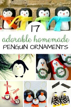 "On Red Ted Art: Gorgeous Homemade Penguin Ornaments DIYs - we do love all things handmade at Christmas.. and these darling Penguin Ornaments will look great on the Christmas Tree of for brightening up the Winter months on a ""Winter Tree"". Lovely Penguin Crafts to make!"