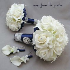 Navy White Wedding Flower Package Bridal by SongsFromTheGarden, $290.00