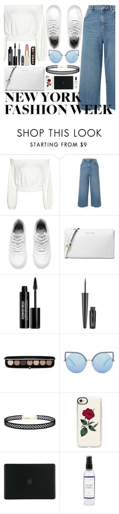 """What to Wear to NYFW"" by sl1234 ❤ liked on Polyvore featuring Miss Selfridge, H&M, Michael Kors, Edward Bess, Maybelline, Marc Jacobs, Matthew Williamson, LULUS, Casetify and Tucano"