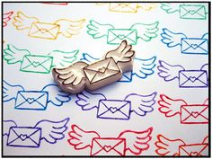 Special Delivery Hand Carved Rubber Stamp,Stamp Carving Patterns, Simple Printmaking for Kids , Carving with Eraser Carving, Stamps , Printing, Carving Tools, Pattern, Template, Idea, Art Teacher, Art Design, DIY , Japanese, Activities for Kids, letter, wings