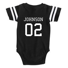 a82a39c5beb7b Custom Football Sport Jersey Baby Bodysuit Personalized with Name and  Number (Newborn