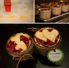 Individual little pies in mason jars for picnics or BBQ's - Great ideas for was apple, cherry 4 oz. pies.