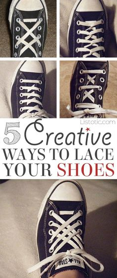 5 Fun and creative ways to tie your shoes! How to tie your shoelaces cool with these easy lacing techniques... Perfect for Converse or any sneakers. A life hack every girl should now! Listotic.com