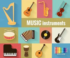 Musical instruments vector set by Microvector on Saxophone, Violin, Drums For Sale, Jazz Instruments, Piano, Drum Accessories, Sketch Icon, Doodle Icon, Typography Poster Design