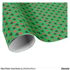 Mini Poker Card Suits Wrapping Paper $23.95 Mini Heart, Club, Spade and Diamond in Red and Black, on a poker green colored background. Poker players or card players will enjoy this repeating pattern. Great for Las Vegas theme gambling nights, or just for fun! See more of our matching items in our store.
