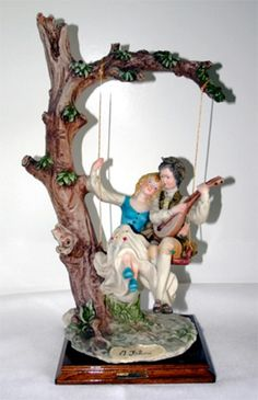 Figurines | Capodimonte Couple On Swing Dear Sculpture Was $595 On Sale Today $395.00