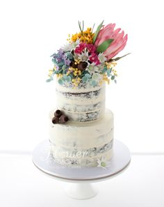 Birthday cake topped with a mass of Australian native sugar flowers. Flowers consisted of a magnificent Protea surrounded by … Wedding Cakes With Flowers, Elegant Wedding Cakes, Wedding Decor, Wedding Ideas, Wedding Cookies, Wedding Desserts, Beautiful Cakes, Amazing Cakes, Sticky Date Cake