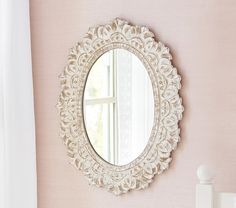 """Carved Oval Mirror - Overall: 24"""" wide x 0.75"""" thick x 30"""" high Mirror Section: 14.75"""" wide x 19.75"""" high $179"""
