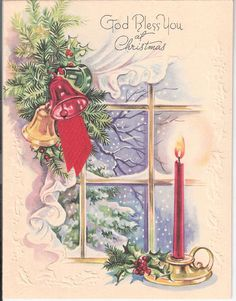 God Bless You at Christmas - candle in window.