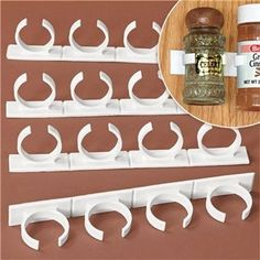 With Spice Clips you can organize all of your spices on your cabinet doors to quickly locate them when you need them. Easily keep track of all your spices.