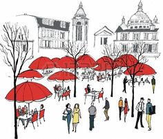 Vector illustration of people in outdoor cafe, Montmartre, France
