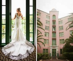 Getting Ready Bridal Portrait at St. Petersburg Vinoy Renaissance Wedding Venue | White Trumpet Style Augusta Jones Wedding Dress with Scalloped Lace Neckline, Cap Sleeves and Cathedral Train