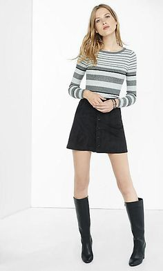 mixed stripe fitted crew neck sweater