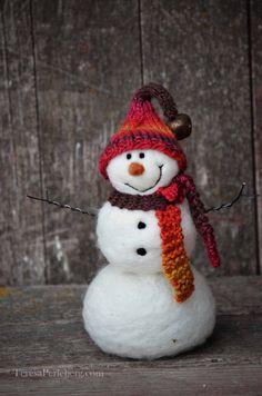 Snowman Solid wool needle felted Snowmen 494 by BearCreekDesign