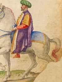 Zeichnungen von Trachten und Gebräuchen aus dem osmanischen Reich, Persien und der Neuen Welt, Norditalien ca. 1570.